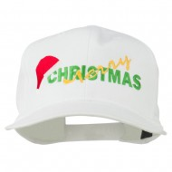 Merry Christmas Santa Hat Embroidered Cap - White
