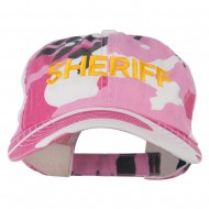 Sheriff Military Embroidered Camo Cap - Pink