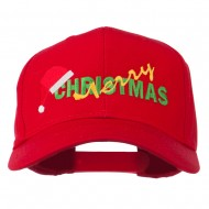 Merry Christmas Santa Hat Embroidered Cap - Red