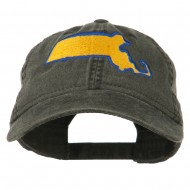 Massachusetts State Map Embroidered Washed Cap - Black