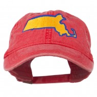 Massachusetts State Map Embroidered Washed Cap - Red