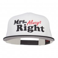 Mrs Always Right Embroidered Mesh Snapback - Black White