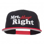 Mrs Always Right Embroidered Mesh Snapback - Red Black