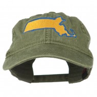 Massachusetts State Map Embroidered Washed Cap - Olive Green