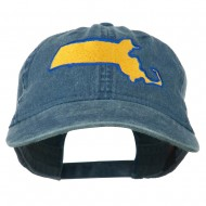 Massachusetts State Map Embroidered Washed Cap - Navy