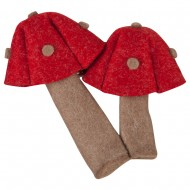 Mushroom Novelty Accessory Pin and Badge - Red Brown