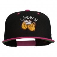 Cheers with Beer Mugs Embroidered Two Tone Snapback Cap - Black Pink