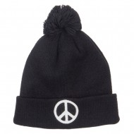 Peace Symbol Embroidered Pom Cuff Beanie - Black