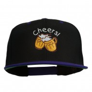 Cheers with Beer Mugs Embroidered Two Tone Snapback Cap - Black Purple