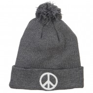 Peace Symbol Embroidered Pom Cuff Beanie - Grey