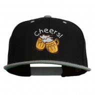 Cheers with Beer Mugs Embroidered Two Tone Snapback Cap - Black Silver