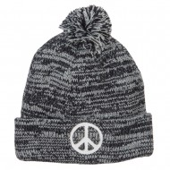 Peace Symbol Embroidered Pom Cuff Beanie - Marled