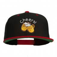 Cheers with Beer Mugs Embroidered Two Tone Snapback Cap - Black Red