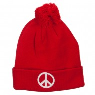 Peace Symbol Embroidered Pom Cuff Beanie - Red