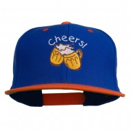 Cheers with Beer Mugs Embroidered Two Tone Snapback Cap - Royal Orange