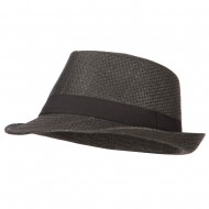 Men's Woven Paper Fedora Hat with Black Band - Black