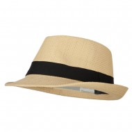 Men's Woven Paper Fedora Hat with Black Band - Natural