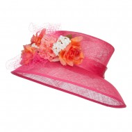 Mixed Flower Decoration Sinamay Hat - Hot Pink