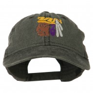 Mayan Head Embroidered Washed Cap - Black