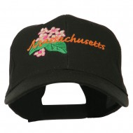 USA State Massachusetts Mayflower Embroidered Low Profile Cap - Black