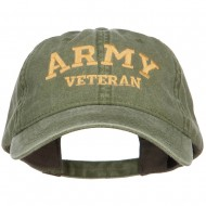 Army Veteran Letters Embroidered Washed Cap - Olive