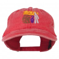 Mayan Head Embroidered Washed Cap - Red