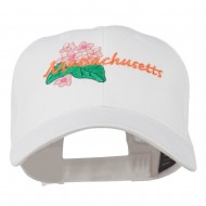 USA State Massachusetts Mayflower Embroidered Low Profile Cap - White