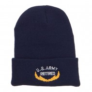 US Army Retired Emblem Embroidered Cuff Beanie - Navy