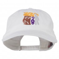 Mayan Head Embroidered Washed Cap - White