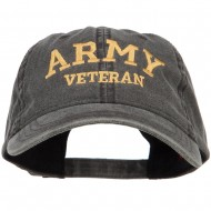 Army Veteran Letters Embroidered Washed Cap - Black