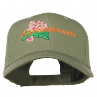 USA State Massachusetts Mayflower Embroidered Low Profile Cap - Olive