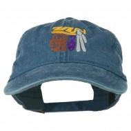 Mayan Head Embroidered Washed Cap - Navy