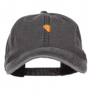 Mini Pizza Embroidered Washed Cap - Black