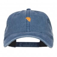 Mini Pizza Embroidered Washed Cap - Navy