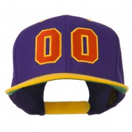 Athletic Number 00 Embroidered Classic Two Tone Cap - Purple Gold