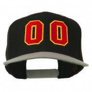 Athletic Number 00 Embroidered Classic Two Tone Cap - Black Silver