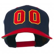 Athletic Number 00 Embroidered Classic Two Tone Cap - Navy Red