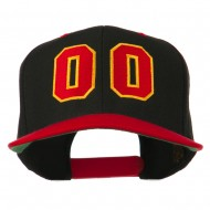Athletic Number 00 Embroidered Classic Two Tone Cap - Black Red