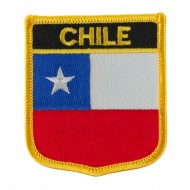 North and South America Flag Embroidered Patch Shield - Chile