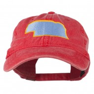 Nebraska State Map Embroidered Washed Cotton Cap - Red