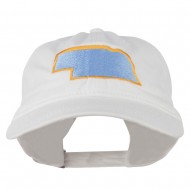 Nebraska State Map Embroidered Washed Cotton Cap - White