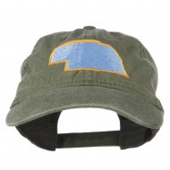 Nebraska State Map Embroidered Washed Cotton Cap - Olive Green