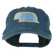 Nebraska State Map Embroidered Washed Cotton Cap - Navy
