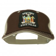 NY State Police Patched Big Size Washed Mesh Cap - Brown Beige