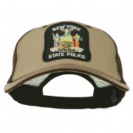 NY State Police Patched Big Size Washed Mesh Cap - Khaki Brown