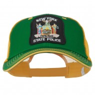NY State Police Patched Big Size Washed Mesh Cap - Kelly Gold