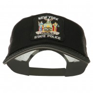 NY State Police Patched Big Size Washed Mesh Cap - Black Grey