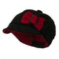 Youth Bow Newsboy Cap - Black Red