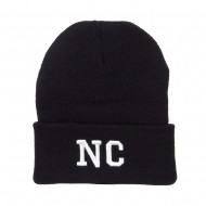 NC North Carolina Embroidered Long Beanie - Black