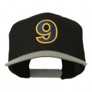 Arial Number 9 Embroidered Classic Two Tone Cap - Black Silver